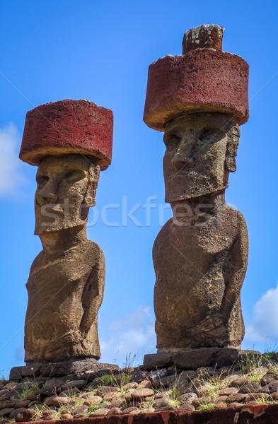 Moais statues site ahu Nao Nao on anakena beach, easter island Stock photo © daboost