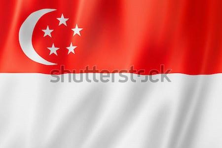 Szingapúri zászló Szingapúr háromdimenziós render szatén Stock fotó © daboost