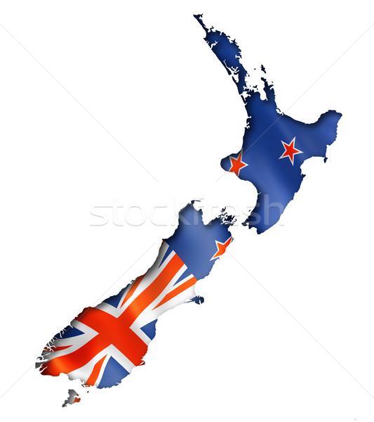 Новая Зеландия флаг карта оказывать изолированный Сток-фото © daboost