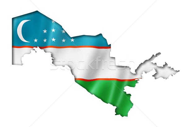 Üzbegisztán zászló térkép háromdimenziós render izolált Stock fotó © daboost