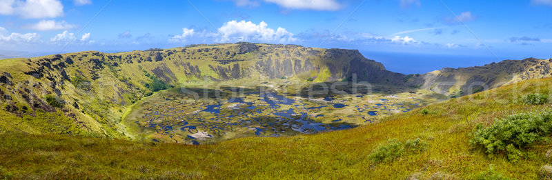 Rano Kau volcano crater in Easter Island panoramic view Stock photo © daboost