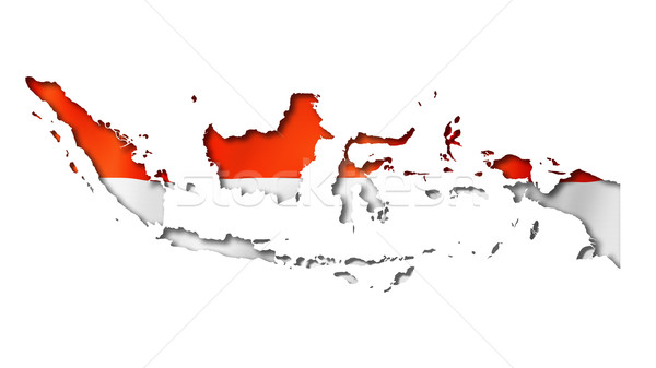 Endonezya bayrak harita Endonezya üç boyutlu vermek Stok fotoğraf © daboost
