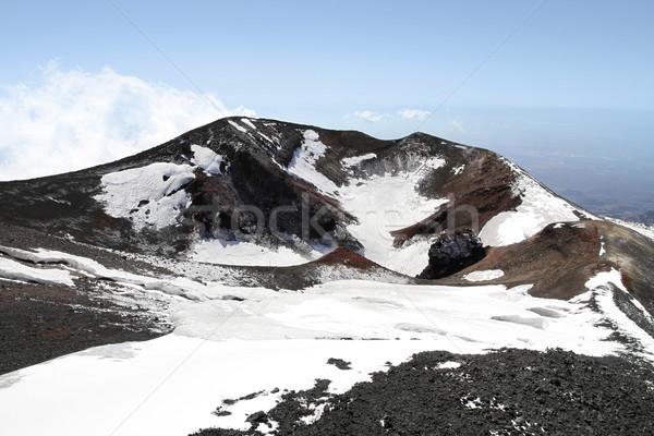 Vulkaan krater sicilië Italië hemel wolken Stockfoto © daboost