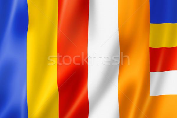 Buddyzm banderą trójwymiarowy oddać satyna tekstury Zdjęcia stock © daboost