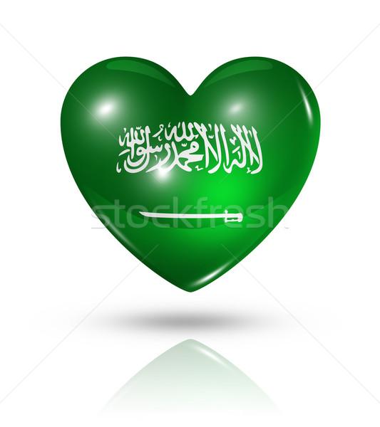 Sevmek Suudi Arabistan kalp bayrak ikon simge Stok fotoğraf © daboost