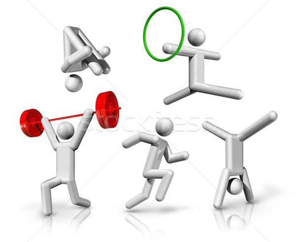 Spor semboller simgeler atletizm jimnastik trambolin Stok fotoğraf © daboost