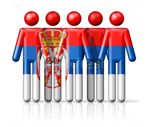флаг Сербия stick figure социальной сообщество символ Сток-фото © daboost