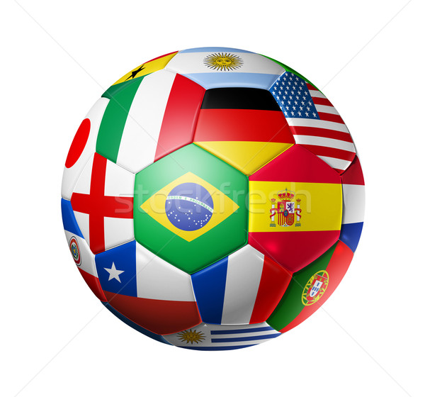 Football soccer ball with world teams flags Stock photo © daboost