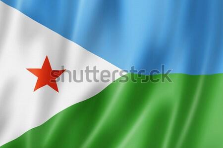 Dżibuti banderą trójwymiarowy oddać satyna tekstury Zdjęcia stock © daboost
