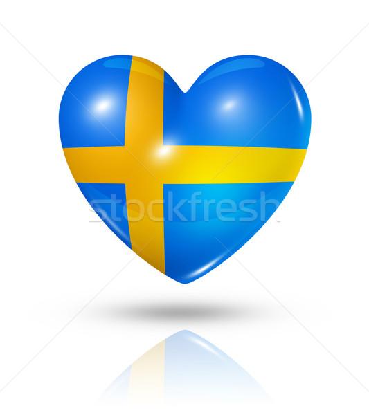 Stock photo: Love Sweden, heart flag icon