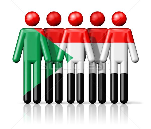 Banderą Sudan stick figure społecznej społeczności symbol Zdjęcia stock © daboost