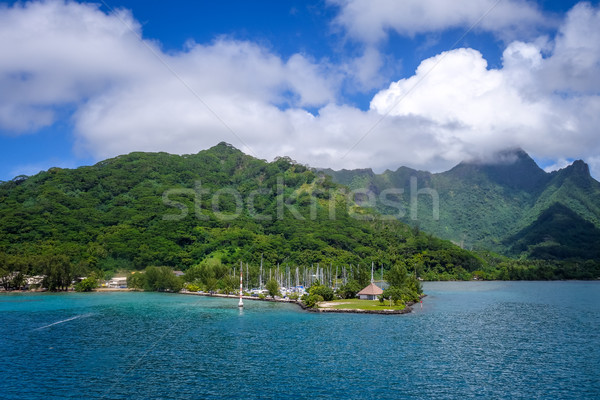Moorea island harbor and pacific ocean lagoon landscape Stock photo © daboost