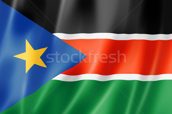 Zuiden Soedan vlag geven satijn Stockfoto © daboost