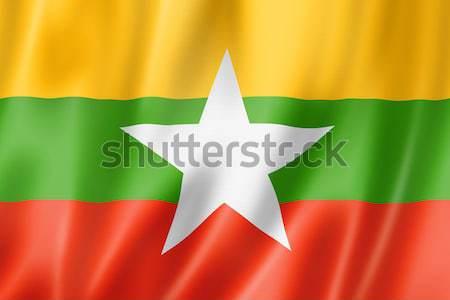 Birma Myanmar vlag geven satijn Stockfoto © daboost