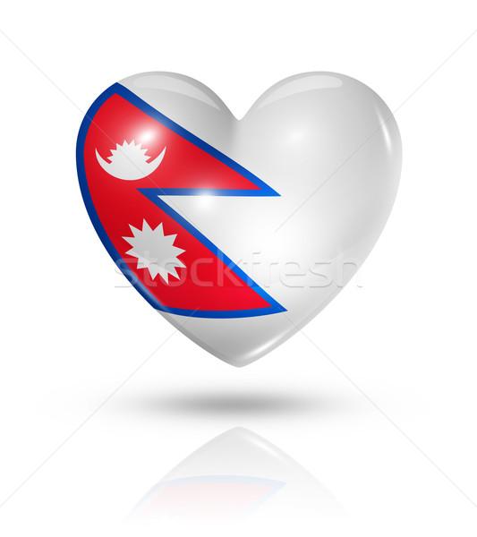 Amor Nepal coração bandeira ícone símbolo Foto stock © daboost