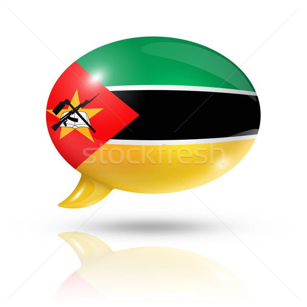 Moçambique bandeira balão de fala tridimensional isolado branco Foto stock © daboost