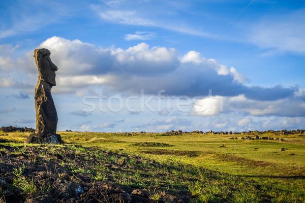 Standbeeld Pasen eiland kunst oceaan rock Stockfoto © daboost