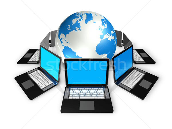 Laptop computers around a world globe Stock photo © daboost