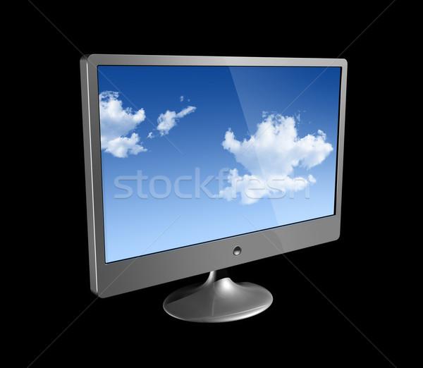 3D bilgisayar monitörü yalıtılmış siyah üç boyutlu bilgisayar Stok fotoğraf © daboost