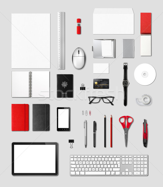 Office supplies mockup template, grey background Stock photo © daboost