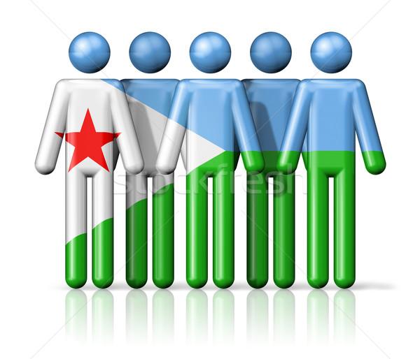 Banderą Dżibuti stick figure społecznej społeczności symbol Zdjęcia stock © daboost