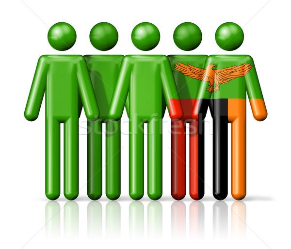 Zászló Zambia pálcikaember társasági közösség szimbólum Stock fotó © daboost