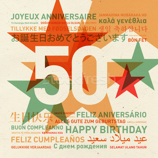 50th anniversary happy birthday card from the world Stock photo © daboost