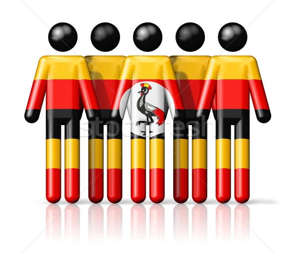 Flag of Uganda on stick figure Stock photo © daboost