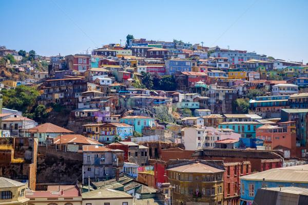 Cityscape Chile colorido velho casas cidade Foto stock © daboost