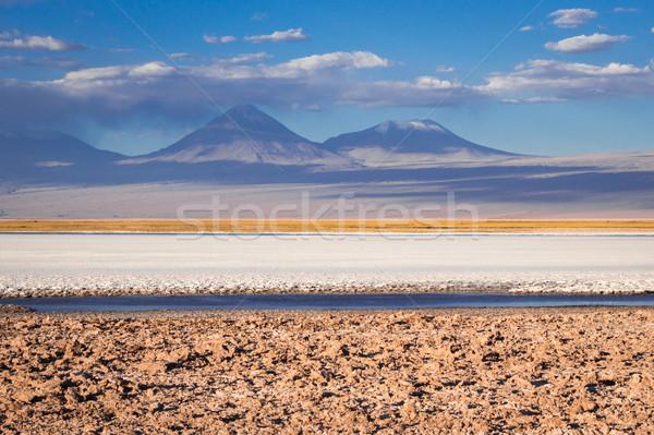 Paisagem pôr do sol deserto montanha azul areia Foto stock © daboost