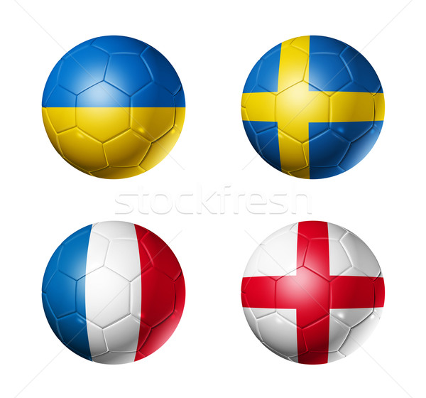 soccer UEFA euro 2012 cup - group D flags on soccer balls Stock photo © daboost