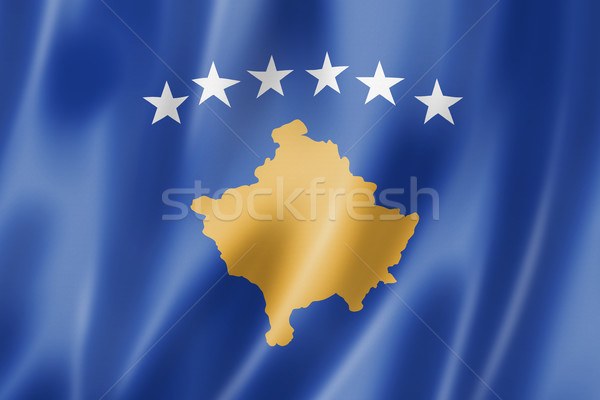 Kosovo bandeira tridimensional tornar cetim textura Foto stock © daboost