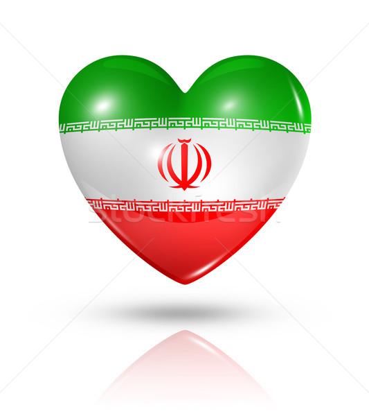Szeretet Irán szív zászló ikon szimbólum Stock fotó © daboost