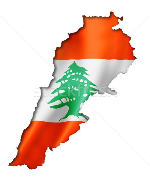 Lebanese flag map Stock photo © daboost