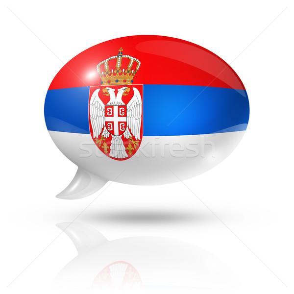 Stock photo: Serbian flag speech bubble
