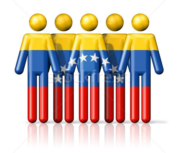 Stock photo: Flag of Venezuela on stick figure