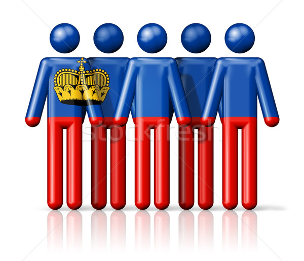 флаг Лихтенштейн stick figure социальной сообщество символ Сток-фото © daboost