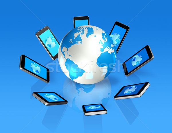 3D mobile phones around a world globe Stock photo © daboost