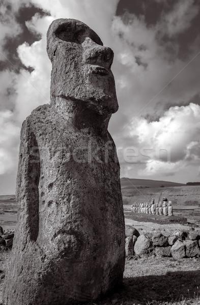 Moai statue, ahu Tongariki, easter island. Black and white pictu Stock photo © daboost
