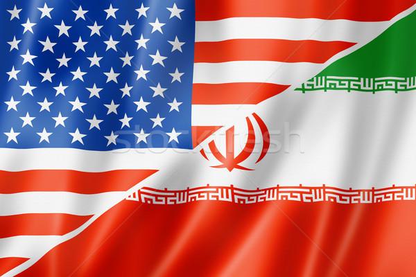 USA Irán zászló vegyes háromdimenziós render Stock fotó © daboost