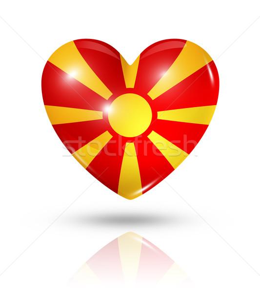 любви Македонии сердце флаг икона символ Сток-фото © daboost