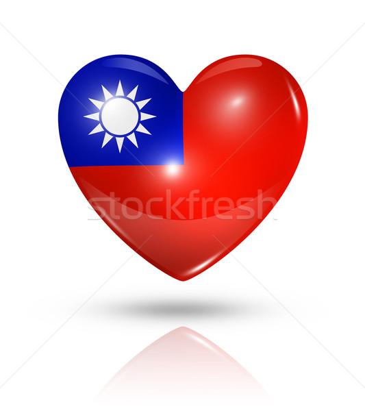 Sevmek Tayvan kalp bayrak ikon simge Stok fotoğraf © daboost