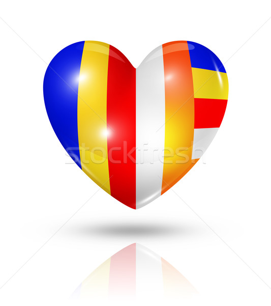 Love buddhism, heart flag icon Stock photo © daboost