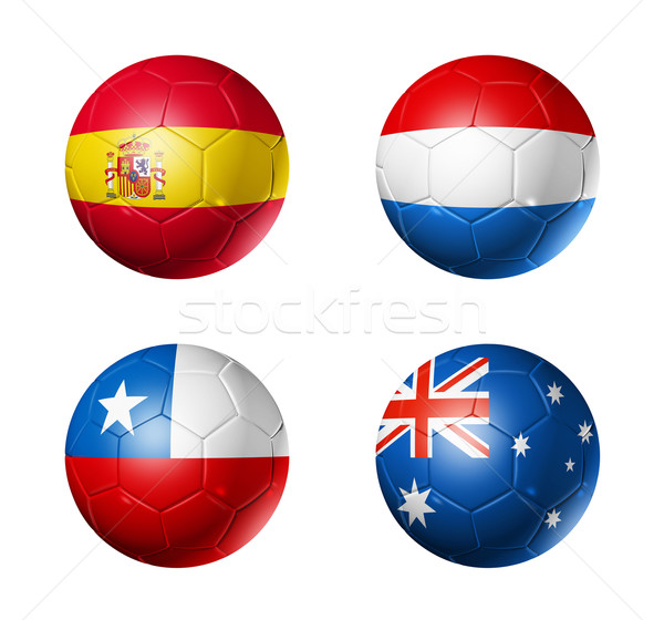 Brazil world cup 2014 group B flags on soccer balls Stock photo © daboost