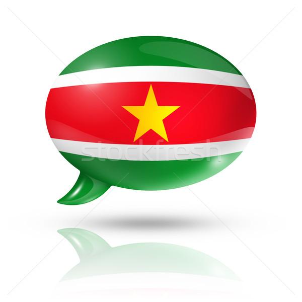 Суринам флаг речи пузырь изолированный белый Сток-фото © daboost