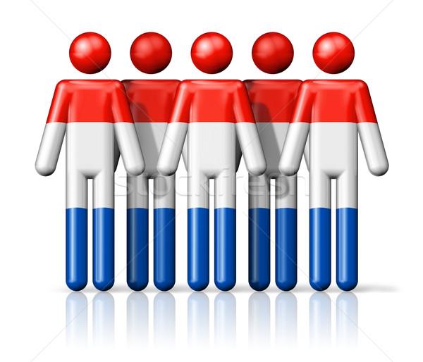 Zászló Hollandia pálcikaember társasági közösség szimbólum Stock fotó © daboost