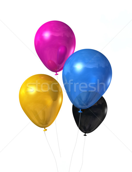 CMYK colored balloons isolated on white Stock photo © daboost