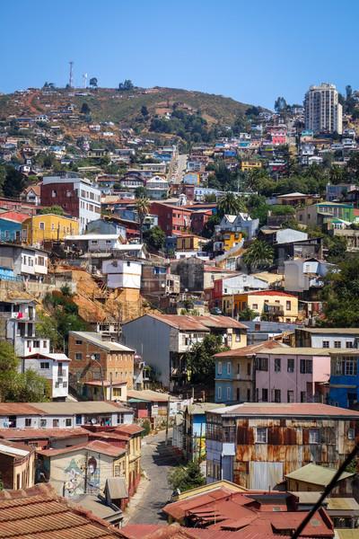 Városkép Chile színes öreg házak város Stock fotó © daboost