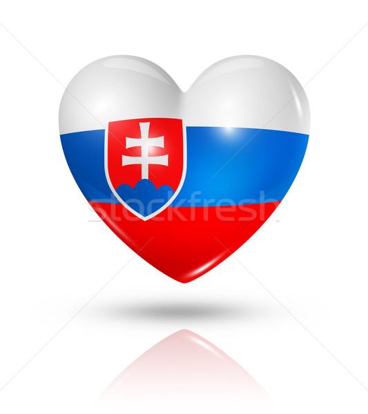 Love Slovakia, heart flag icon Stock photo © daboost