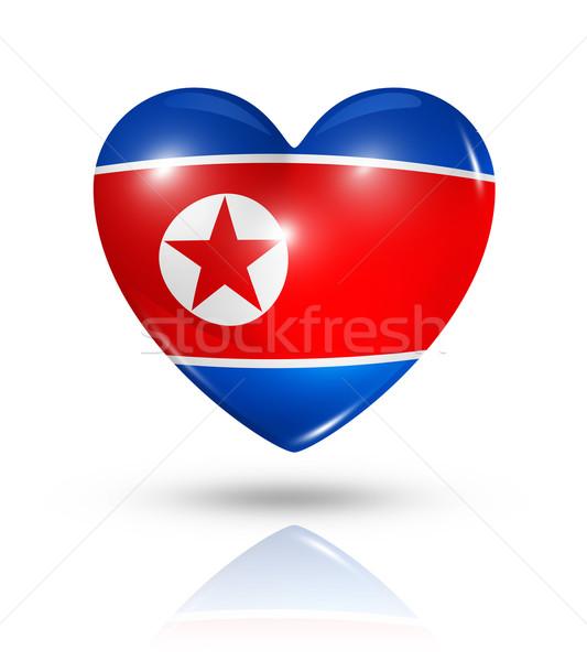 Love North Korea, heart flag icon Stock photo © daboost
